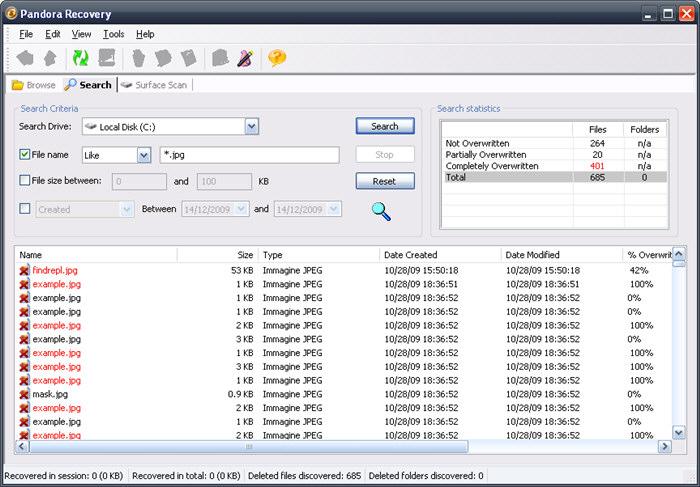 Schermata del programma Pandora Recovery