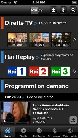 Schermata dell'applicazione RAI TV per Android e iPhone