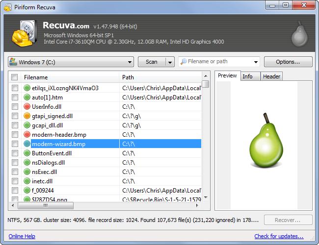 Schermata del software Recuva