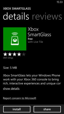 Schermata dell'applicazione Xbox SmartGlass