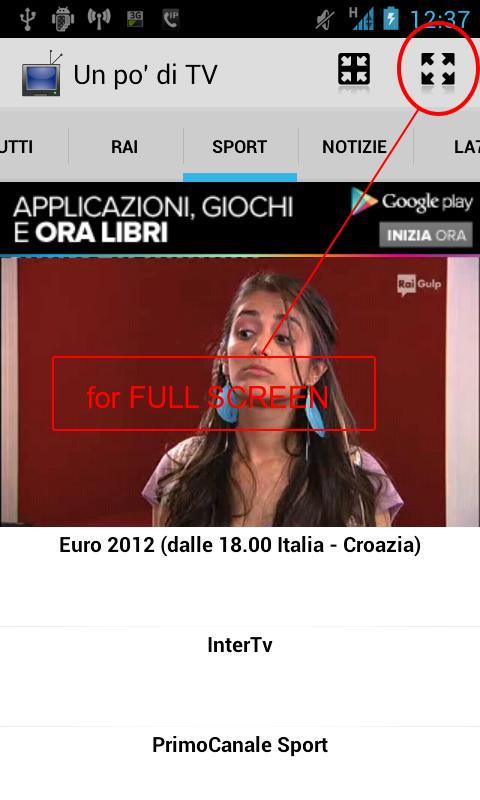 Schermata dell'applicazione Un po' di TV per Android