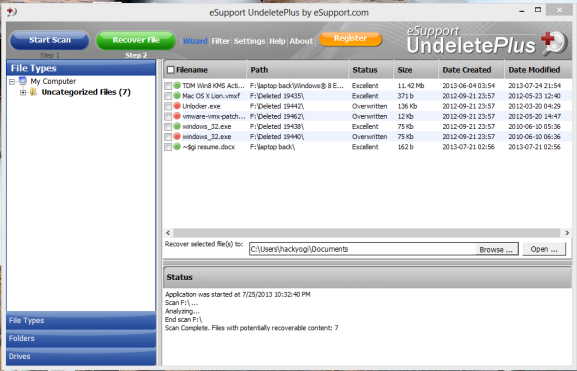 Schermata del software Undelete Plus