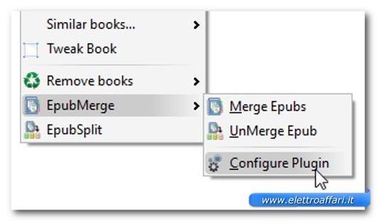 Finestra per l'accesso alla configurazione del plugin
