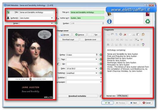 Schermata di personalizzazione del nuovo eBook creato