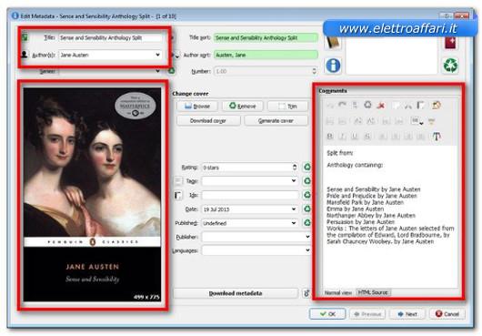 Schermata di personalizzazione degli eBook divisi