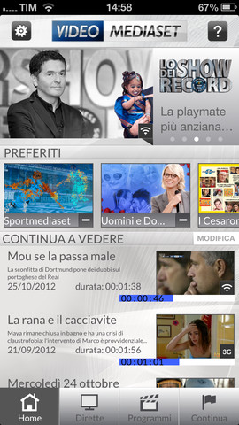 Schermata dell'applicazione Video Mediaset per Android e iPhone