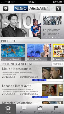 Schermata dell'applicazione Video Mediaset per Android e iPhone