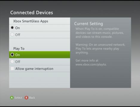 Schermata dei dispositivi connessi sull'Xbox 360