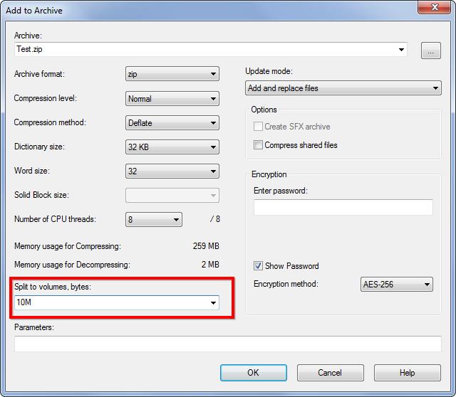 Schermata di un software qualsiasi per la divisione dei file grandi in più parti
