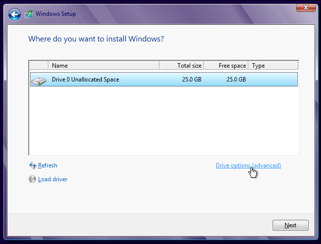 Voce per accedere alle opzioni del drive su cui installare Windows