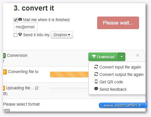 Schermata per l'avvio della conversione dei file