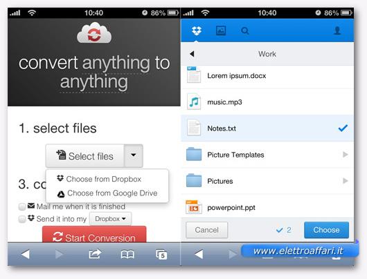 Schermate di CloudConvert utilizzato da uno smartphone