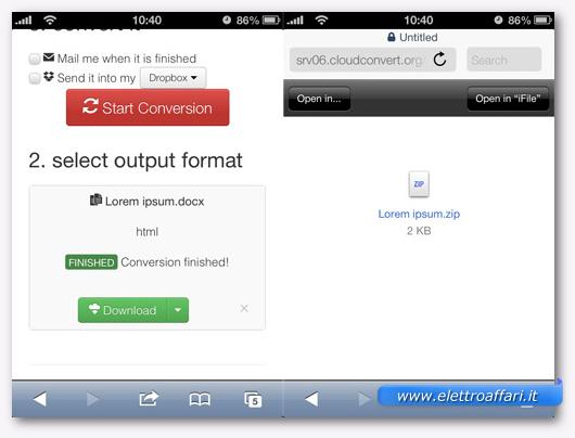 Schermata di avvio della conversione dallo smartphone