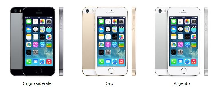 Immagine dell'iPhone 5S nelle sue varie colorazioni