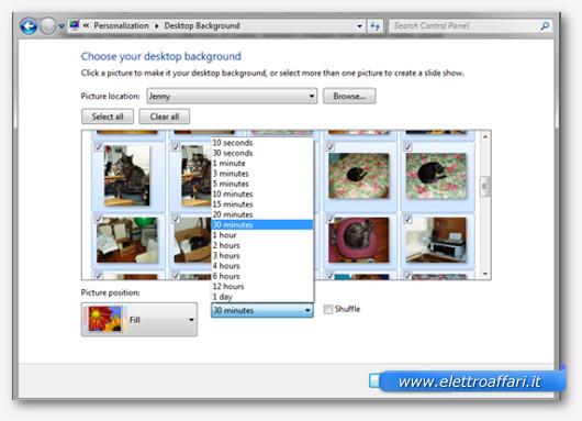 Schermata per scegliere la velocità del cambio immagine di sfondo