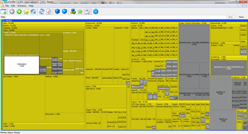Interfaccia grafica del programma SpaceSniffer