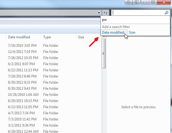 Schermata della ricerca per data di modifica degli oggetti recenti di Windows