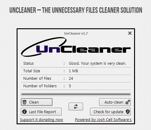 Interfaccia grafica del programma UnCleaner