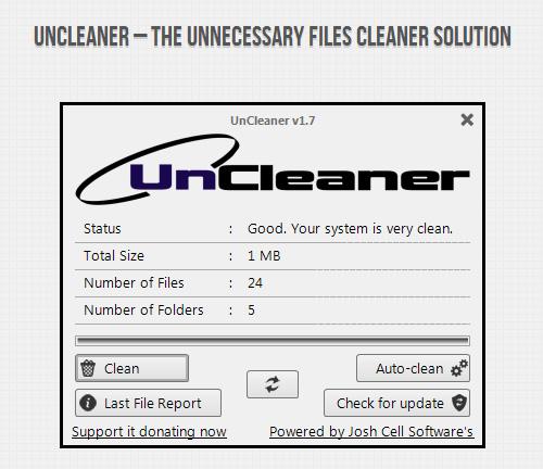 Interfaccia grafica del programma UnCleaner