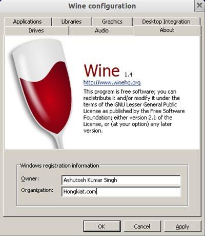 Schermata del software Wine