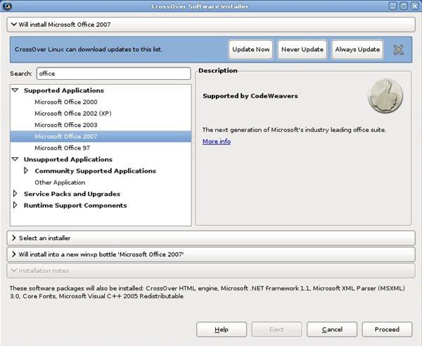 Schermata del software CrossOver
