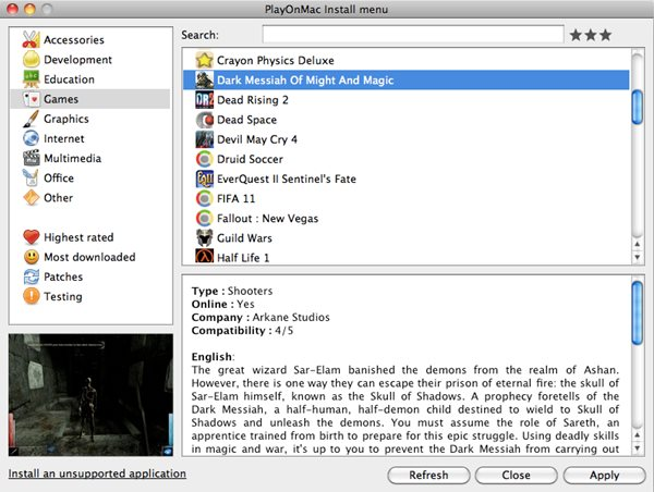 Schermata del software PlayOnMac