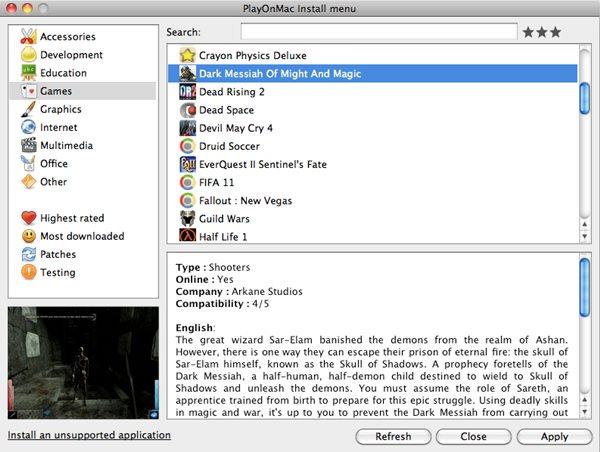 Schermata del software PlayOnMac