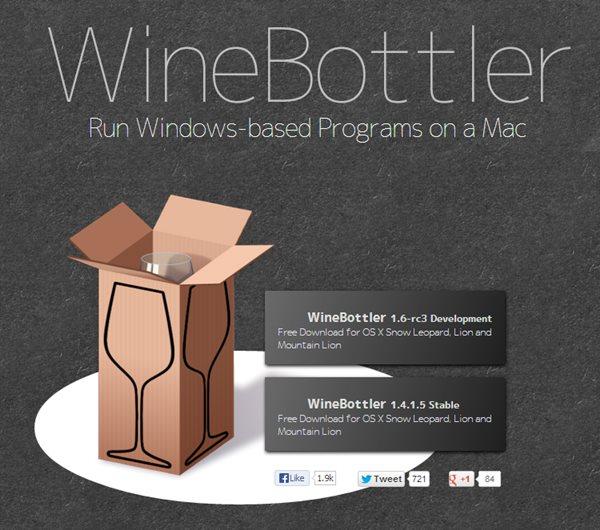Schermata del software WineBottler