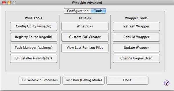 Schermata del software Wineskin