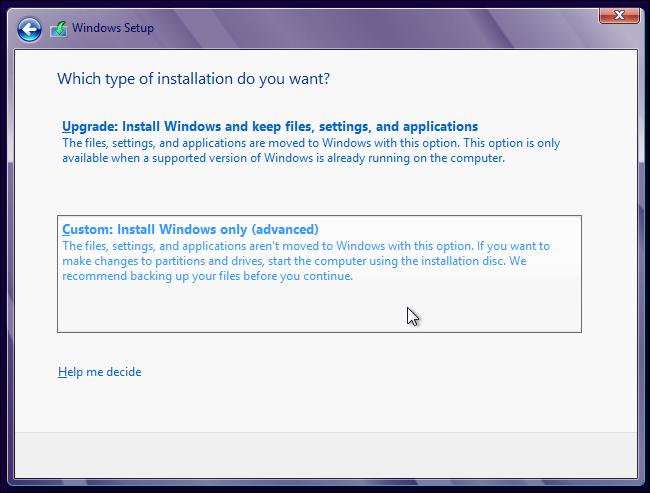 Schermata iniziale dell'installazione di Windows