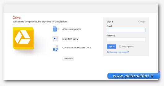 Interfaccia grafica del sito Google Drive