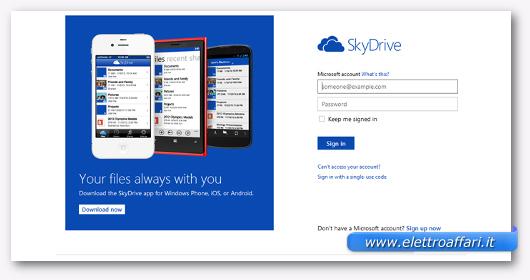 Interfaccia grafica del sito Sky Drive