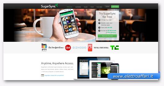 Interfaccia grafica del sito Sugar Sync