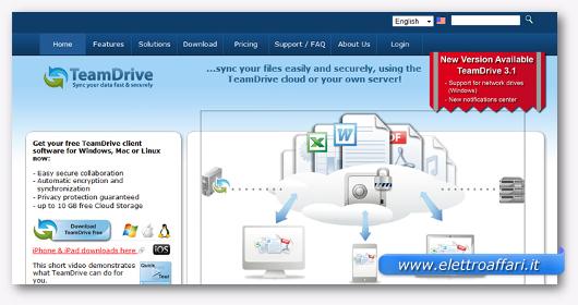 Interfaccia grafica del sito TeamDrive