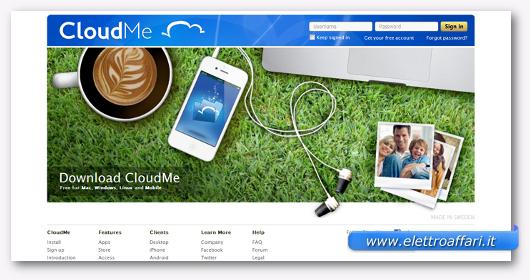 Interfaccia grafica del sito Cloud Me