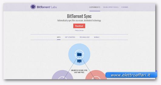 Interfaccia grafica del sito BitTorrent Sync