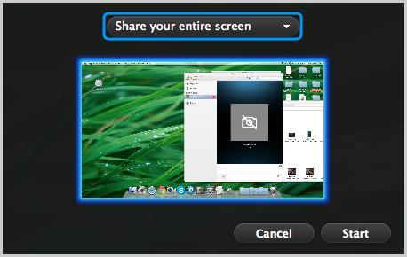 Schermata della condivisione schermo con Skype