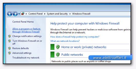 Schermata di configurzione del firewall