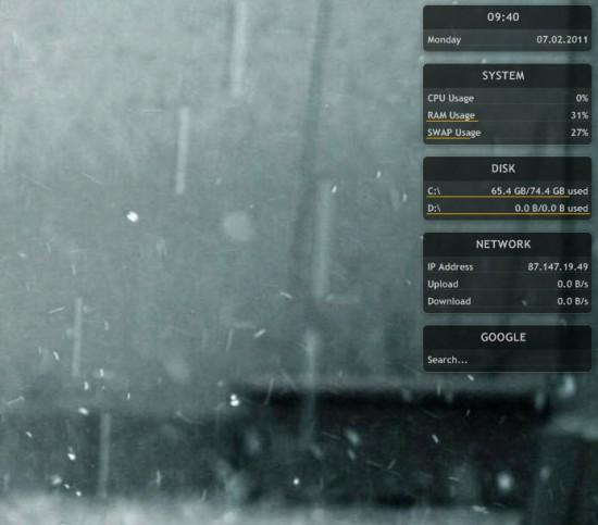 Schermata di Windows 8 con l'utilizzo di Rainmeter