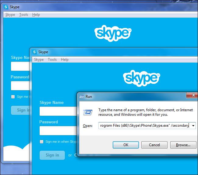 Immagine di due account Skype in funzione sullo stesso PC