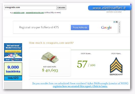 Schermata del sito WorthOfWeb