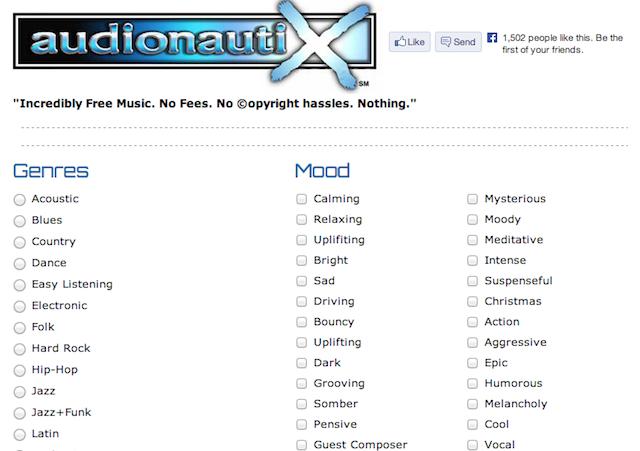 Immagine del sito Audionautix