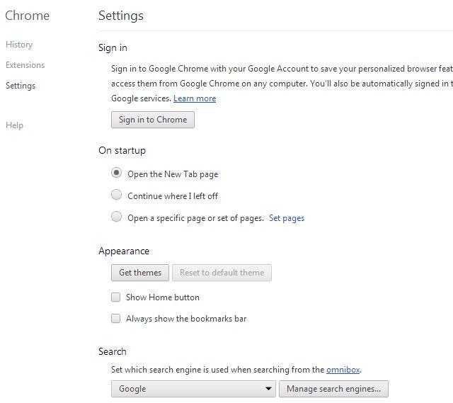 Schermata di Google Chrome per cambiare il motore di ricerca