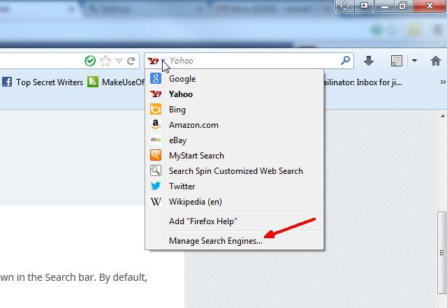Schermata di Firefox per cambiare il motore di ricerca