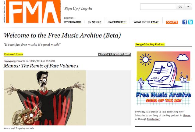 Immagine del sito Free Music Archive