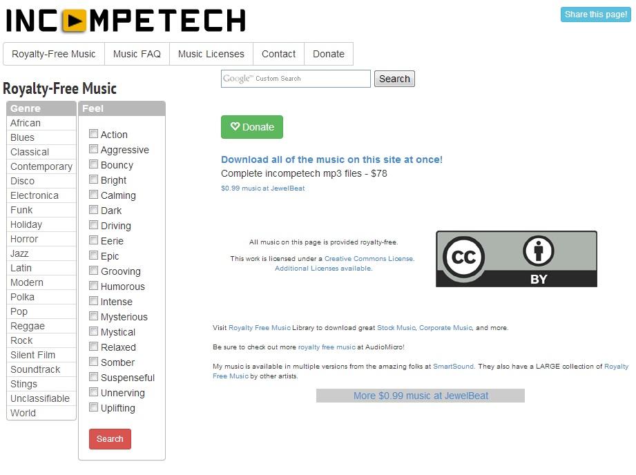 Immagine del sito Incompetech