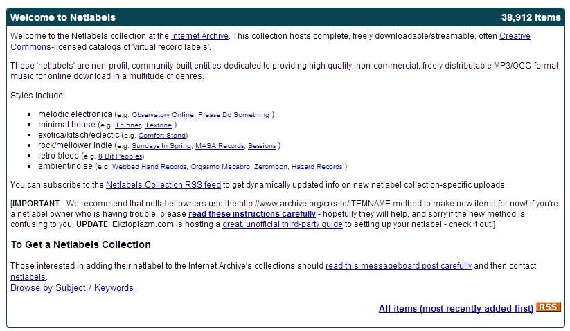Immagine del sito Internet Archive