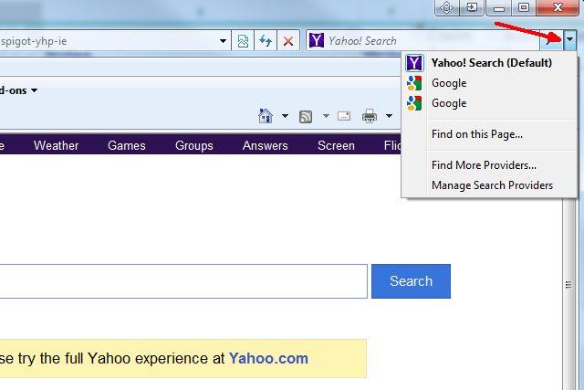 Schermata di Internet Explorer per cambiare il motore di ricerca