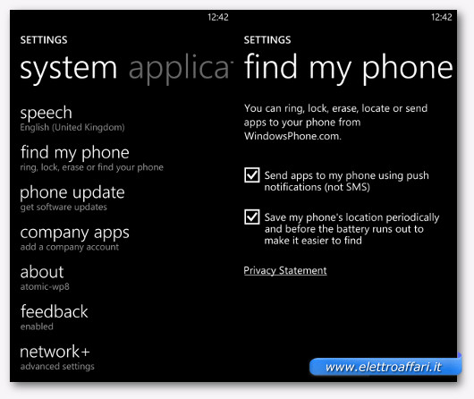 Schermata dell'opzione Find My Phone su uno smartphone Windows Phone