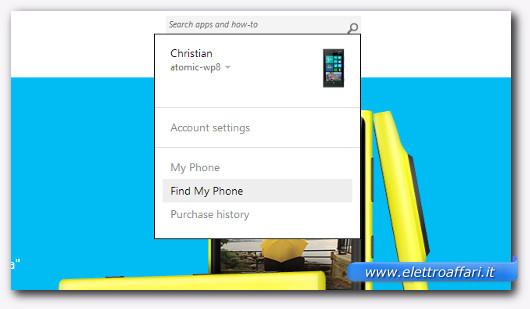 Schermata del sito Windowsphone.com per ritrovare lo smartphone